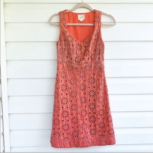 Anthropologie Maeve Orange Metallic Floral Dress